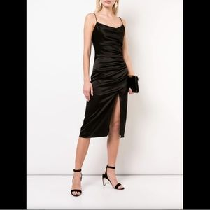 ALICE & OLIVIA BLACK RUCHED SPAGHETTI STRAP DRAPED